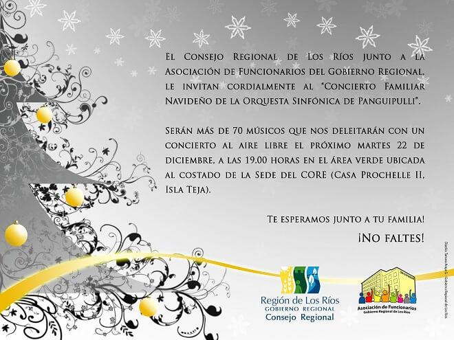 CORE Los Ríos y Asociación de Funcionarios del GORE invitan a Concierto Familiar Navideño