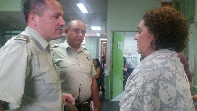 Gobernadora Morano visitó a Carabineros heridos en incidentes del Fundo Lo Suárez