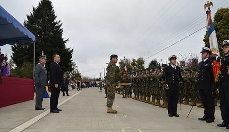Intendente participó en histórico desfile cívico militar en Villa Pelchuquín