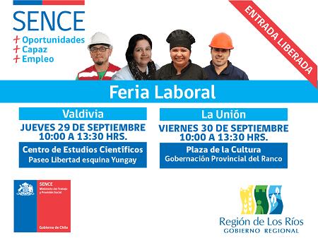 SENCE realizará ferias laborales en Valdivia y La Unión