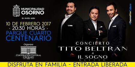 Municipio de Osorno invita a concierto gratuito: Tito Beltrán y duetto Il sogno