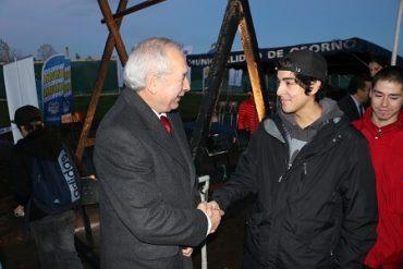 Alcalde de Osorno y deportistas colocaron primera piedra del skatepark en el parque Chuyaca