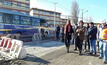 44% de avance presenta construcción de corredor de transporte público en Hualpén