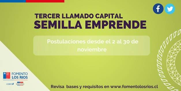 Comité de Fomento Los Ríos invita a postular al tercer llamado del Capital Semilla Emprende