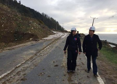 MOP despejó derrumbe en Pishuinco y este jueves espera dejar nuevamente operativa Ruta Corral-Valdivia