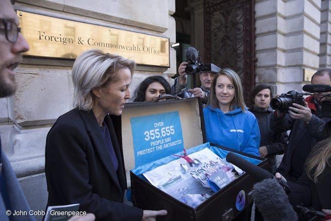 Actriz Gillian Anderson se suma a campaña de Greenpeace para proteger la Antártica