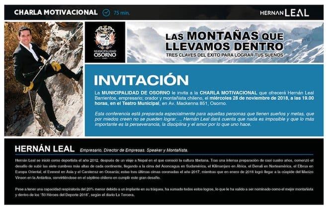 Hernán Leal, destacado montañista osornino, dictará charla motivacional gratuita