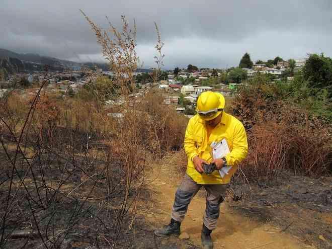 Conaf trabaja con equipo especializado para identificar las causas de incendios forestales en el Biobío