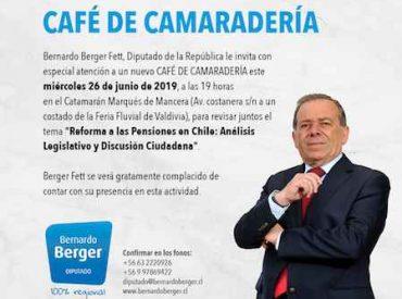 """Diputado Berger invita a revisar Reforma a las Pensiones en nuevo """"Café de Camaradería"""" este miércoles"""