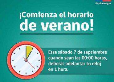 Horario de verano comienza a regir este sábado 7 de septiembre
