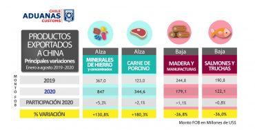 Exportaciones de Chile a China aumentan 9,8% entre enero y agosto 2020