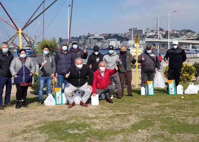 Indespa entregó 114 kits de sanitización para pescadores artesanales de la Región del Biobío